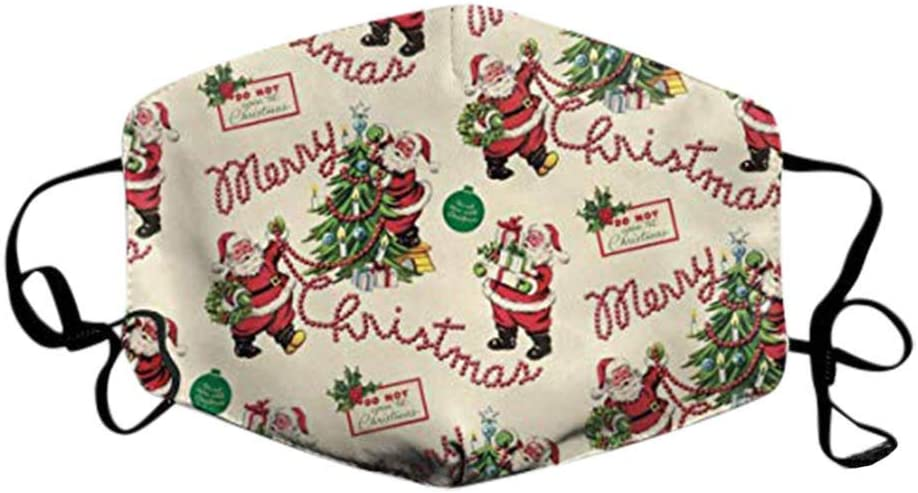 Breathable Anti-Smoke Facial Mouth Nose Cover Bandanas AJFIEF Adult Christmas Printed Face Protective Fashion for Christmas Party Supplies Unisex Reusable Washable Face M/ásk