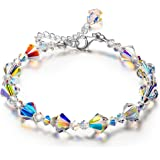 LADY COLOUR Crystal Necklace Enchanted Strecth Crystal Necklace 17 Inches, Made with Swarovski Crystals
