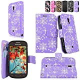 Cellularvilla For Samsung Galaxy Light T399 T-Mobile Wallet Pu Leather Flip Folio Stand Case Cover Pouch Credit ID Card Holder Slots Money Pockets and Detachable Wrist Strap (Purple Glitter)