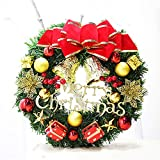 YJYDADA 30cm Christmas Large Wreath Door Wall Ornament Garland Decoration Red Bowknot