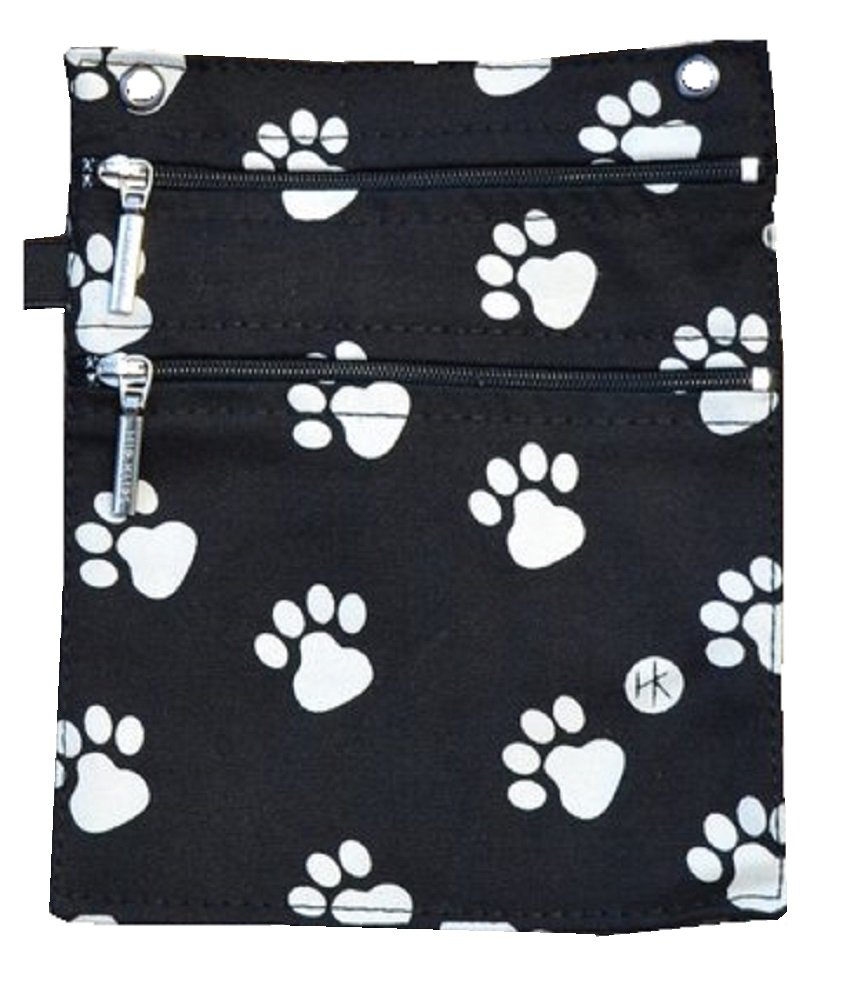 Hip Klip & Hip Purse (100% Cotton; Black Dog Paw; Large) - Suitable for Samsung Galaxy S4, Note 3 and iPhone 6