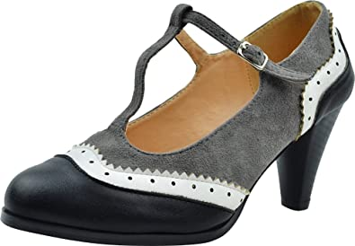 5aa7964b7f82b Cambridge Select Women's Vintage Wingtip T-Strap Inspired Mid High Heel Pump