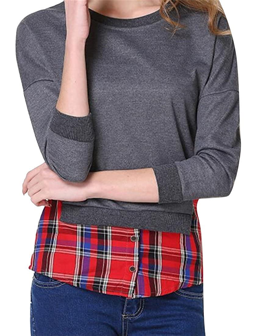 ARTFFEL Women Plus Size Casual Crewneck False Two Buttons Trim Pullover Sweatshirt Tops