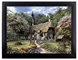 garden design pictures BANBERRY DESIGNS Garden Scene Picture - Country Cottage in a Forest with a Pathway - Black Framed Artwork - 3D Wall Art
