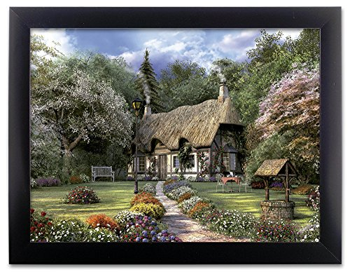 Garden Scene Picture - Country Cottage in a Forest with a Pathway - Black Framed Artwork - 3D Wall Art