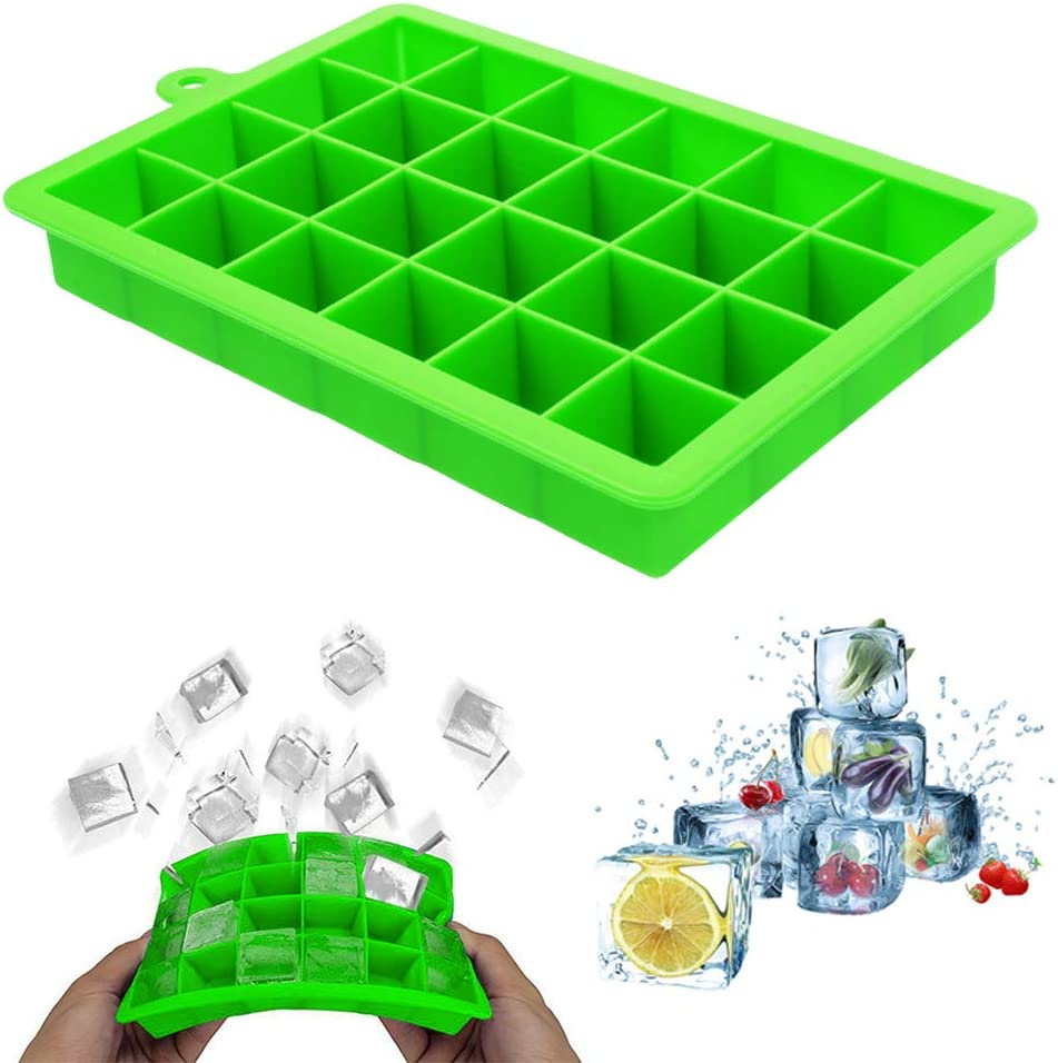 MJIYA Ice Cube Trays, BPA Free & Food Grade Silicone Ice Cube Molds with Removable Lid, Easy-Release Flexible Ice Cube Molds 24 Cubes per Tray for Cocktail, Whiskey, Baby Food, Chocolate, Juice