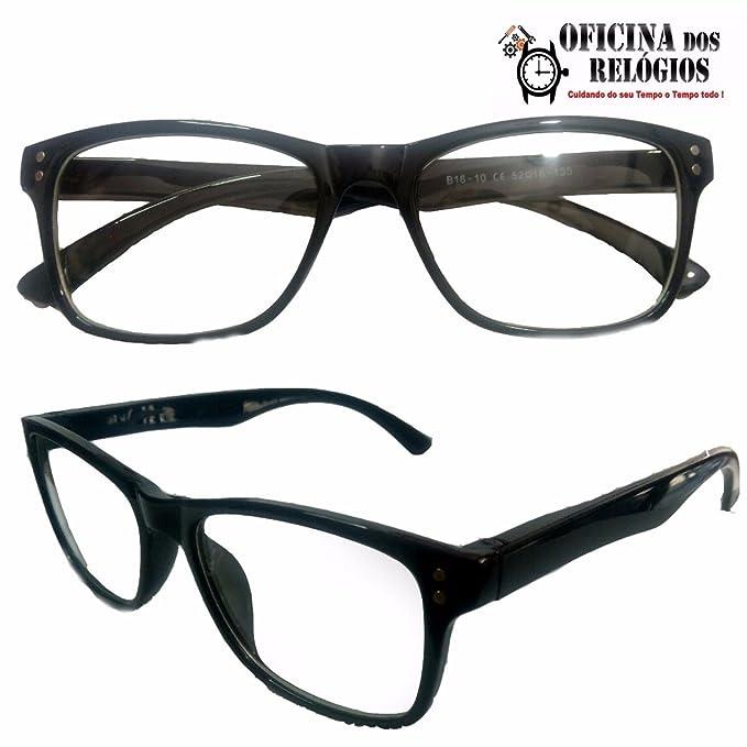 5b0ba7043a682 Armação Para Óculos Leitura e Descanso com lentes Sem Grau Preto - Frete  Grátis