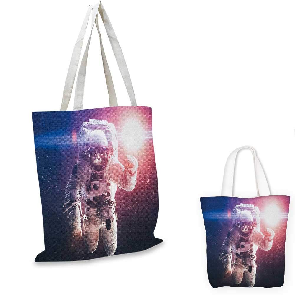 Space Cat canvas messenger bag Flying Cat Without Gravity with Clusters Planet Eclipse Image canvas beach bag White Purple and Dark Blue 12x15-10