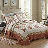 Newrara Fine Cotton Washable American Country Style Wreath Patchwork Quilt Bedspread Bed Coverlets Cover Set Queen Size (3pcs, Maroon)