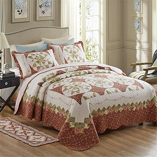 Newrara Fine Cotton Washable American Country Style Wreath Patchwork Quilt Bedspread Bed Coverlets Cover Set Queen Size (3pcs, Maroon) by Newrara
