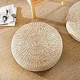 LJ&XJ Floor Seat Cushion, Thick Non-slip Tatami Yoga Meditation Worship buddha Futon cushion, Straw plaited article Load 100kg-A diameter50cm(20inch)