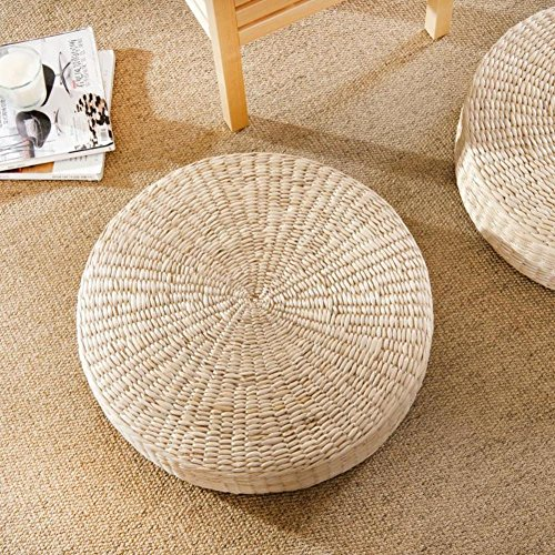 LJ&XJ Floor Seat Cushion, Thick Non-slip Tatami Yoga Meditation Worship buddha Futon cushion, Straw plaited article Load 100kg-A diameter50cm(20inch) by LJ&XJ