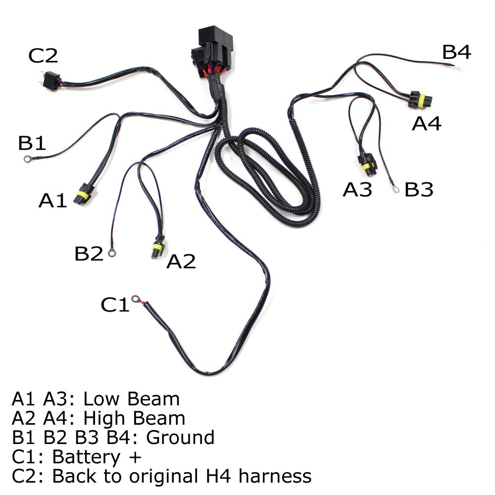 Ijdmtoy Headlight High Low Conversion Relay Wire Harness 2003 Maxima Hid Wiring Diagram Free Download For Original H4 Headlamps To Separated 9005 9006 Beam Headlights