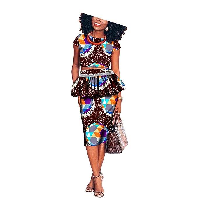 Amazon.com: Vestido africano para mujer 2 piezas traje ...