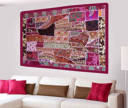 Indian Home Decor Antique Design Wall Hanging Tapestry with Heavy Beaded Embroidery, Zari, Sequins, Old Sari Patchwork - 24 X 36 ()