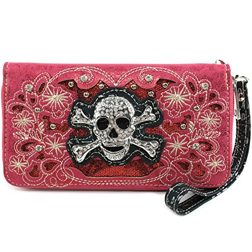 Justin West Rhinestone Skull Embroidery Floral Design Shoulder Chain Handbag and Wristlet Trifold Wallet Attachable Long Strap (Hot Pink Red Flat (Skull Embroidery Design)