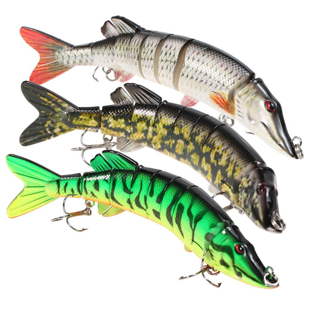 lixada Fishing Lure for Bass 5-8'' Multi Swimbaits Slow Sinking Hard Lure Artificial Bait 8Segment Lifelike Trout Hard Crankbait Treble Hooks (3Pcs-8'', 8in) by lixada