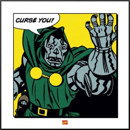 Dr. Doom - Framed Retro Style Comic Art Print / Poster Quote: Curse You!