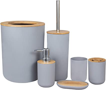 Dorisdoll 6 Piece Bamboo Wooden Bathroom Accessories Set Eco Friendly Bath Gift Set Toilet Brush Toothbrush Holder Cups Soap Dish Trash Can Toilet Bin Soap Dispenser Grey Amazon Co Uk Kitchen Home