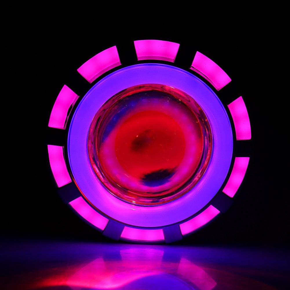 Fari per motocicli LED Lampadine Fari Proiettore Lente per lampada Lampadina Fascio alto//basso con Angelo e Occhio del diavolo Blue /& Red