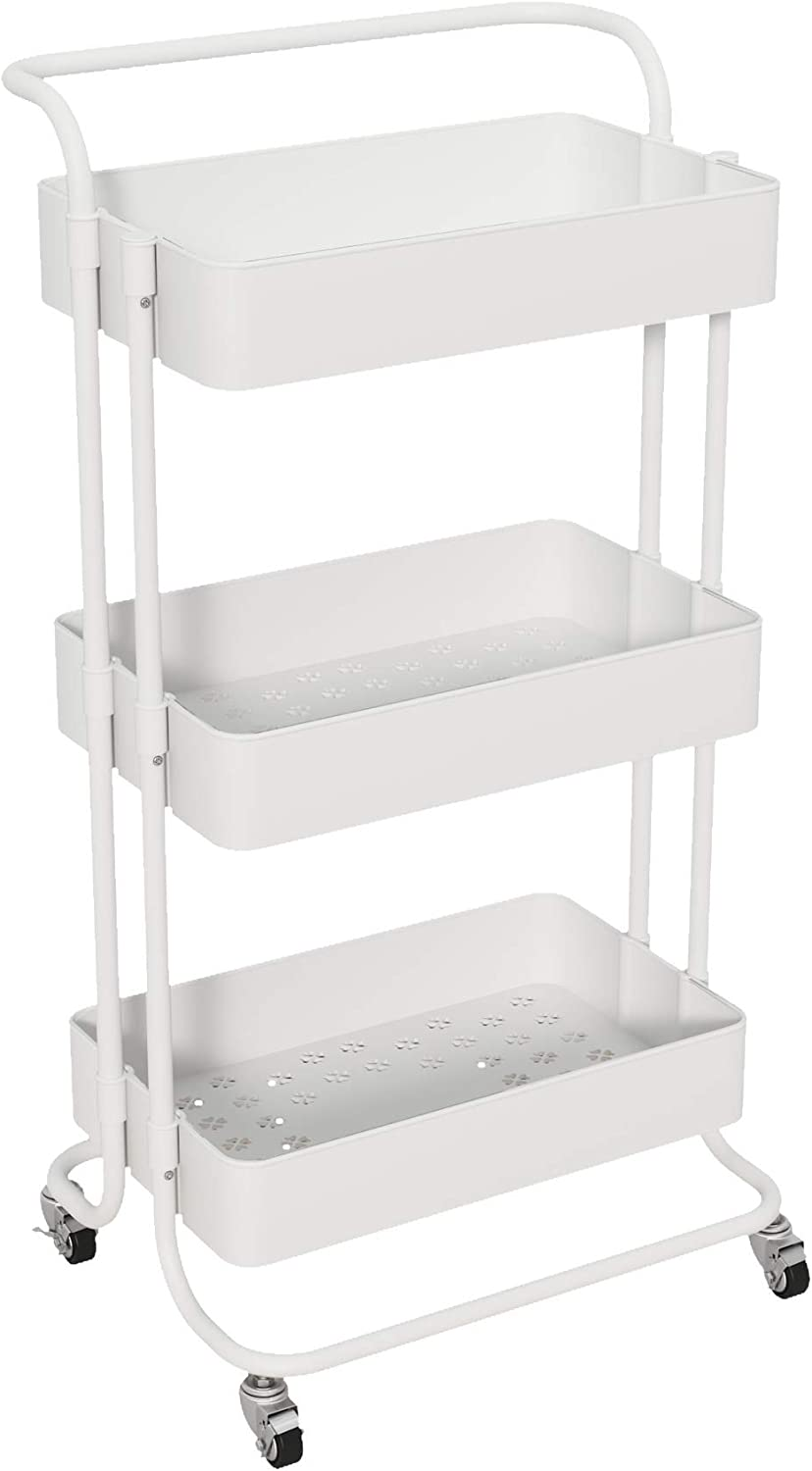ACCSTORE 3-Layer Rolling Storage Utility Cart, Storage Cart with Handle, Mobile Storage Box, Multi-Purpose, with Locking Wheels, Suitable for Kitchen, Living Room, Office,White