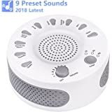 [2018 Latest] Sleep White Noise Machine, 9 Soothing Natural Sounds Therapy for Baby, Insomnia, Sleeping Trouble, Seniors, Office Break etc.Rest Easily with Timer Options, USB or Battery Powered-White