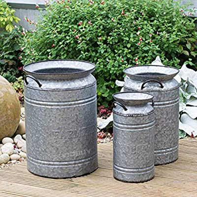 Prodbuy - Juego de 3 grandes macetas decorativas para jardín: Amazon.es: Hogar