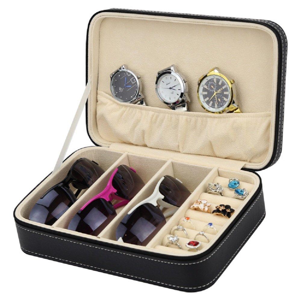 Travel Handbag Sunglass Watch Jewelry Zippered Case Storage Organizer With Removable Board