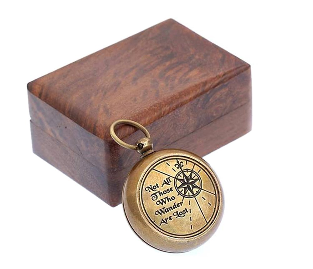Roorkee Instruments India Necklace Compass Not All Those Who Wander are Lost with Wooden Box