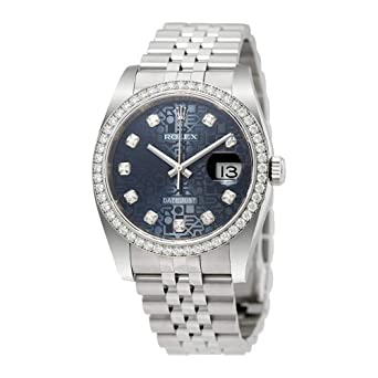 db634656a Amazon.com: Rolex Oyster Perpetual Datejust 36 Blue Dial Stainless ...