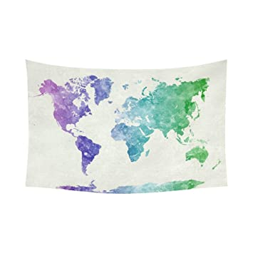 Amazon abstract art splatter painting home decor watercolor abstract art splatter painting home decor watercolor world map blue purple tapestry wall hanging 90 gumiabroncs Images