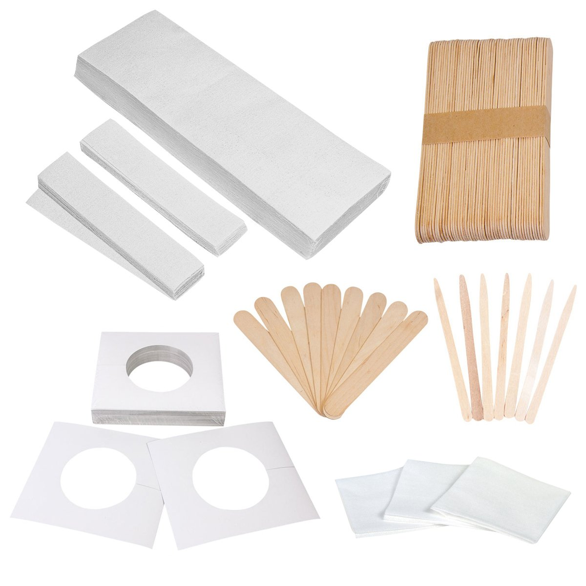 JMT Assorted Waxing Strips Kit - 60 Large 60 Small Muslin Strips and Accessories JMT Group