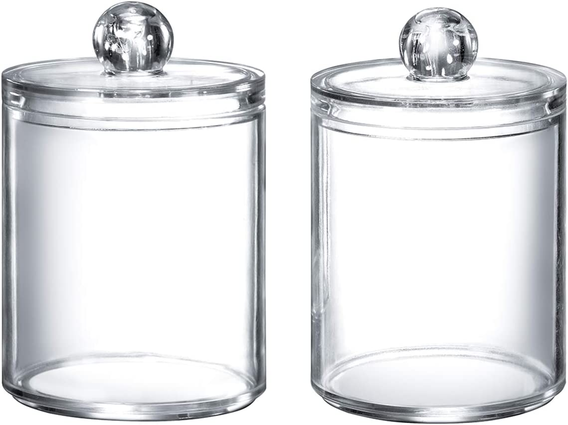 Qtip Dispenser Q-tip Holder Apothecary Jars Bathroom,Premium Quality Clear Plastic Acrylic Container for Q-Tips,Cotton Swab,Cotton Ball,Cotton Rounds,Floss Picks |Small,10 oz,Set of 2
