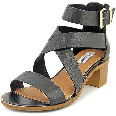 6353ace52de Steve Madden Women s Raeleen Black Leather Sandal