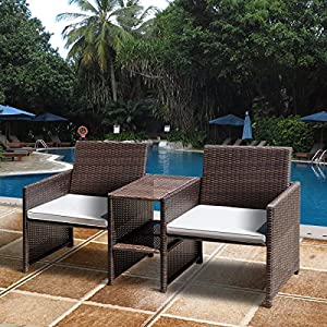 TANGKULA Outdoor Furniture Set Paito Conversation Set with Remoable Cushions & Table Wicker Modern Sofas for Garden Lawn Backyard Outdoor Chat Set