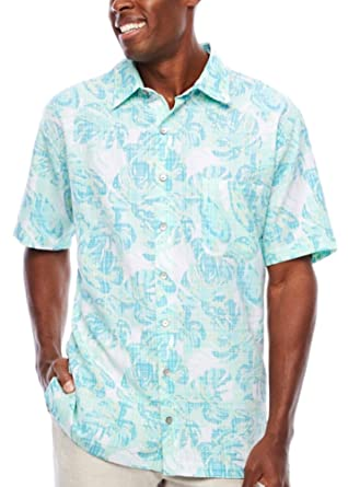 0b618356a1 Van Heusen Men s Big   Tall Oasis Print Dobby Button-Down Shirt (Aqua Plume
