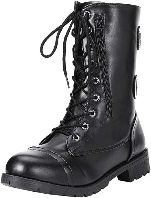 Xinantime Women Ankle Boots Ladies Waterproof Flat Short Boots Retro Round Toe Lace Up Zipper Boots
