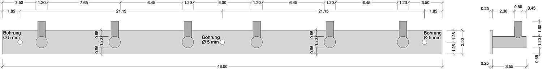 M/öbelbeschl/äge K/üche Kleiderhaken Edelstahl Modell MOON Wandgarderobe-Leiste mit 6 Haken 1 St/ück Wandhaken sichtbar verschraubt inkl Befestigungsmaterial Gedotec Hakenleiste Garderobe