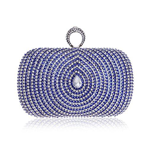 Cross Bag Handbag Clutch Purse Fancy Dress Ladies Evening Bag Women Diamond (color: Blue) Blue