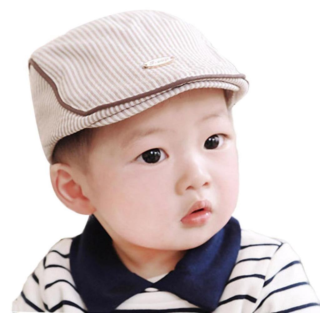 Ularma Adorable Baby Infant Boy Girl Stripe Beret Cap Peaked Baseball Hat (Khaki)