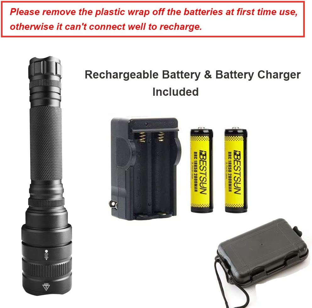 XHP50 LED Flashlight Powerful Super Bright Flashlight LUXNOVAQ High Lumen Zoomable Tactical Flashlights Waterproof Hand Torch Light with 2 Rechargeable Battery /& Charger /& 5 Modes Best for Camping