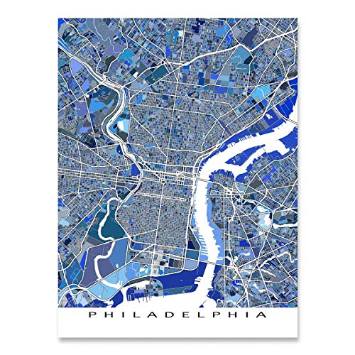 Philadelphia Map Print, Pennsylvania USA, City Street Art Poster