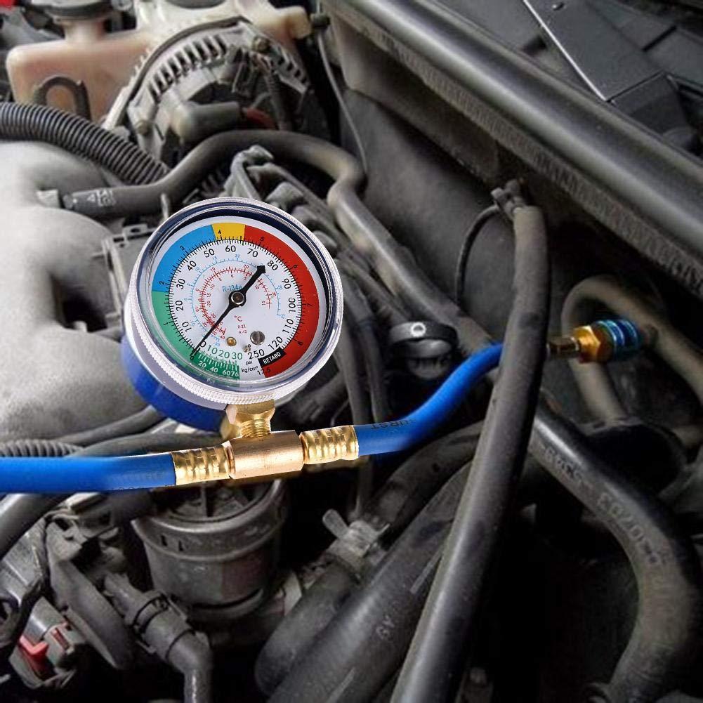 Funihut AC R134A Recharge Kit Climatisation Voiture Tuyau Desinfectant Car Auto Air Conditioning de r/éfrig/érant Kit de Mesure de Manom/ètre Charge Adaptateur avec Guage Tube Fluorine