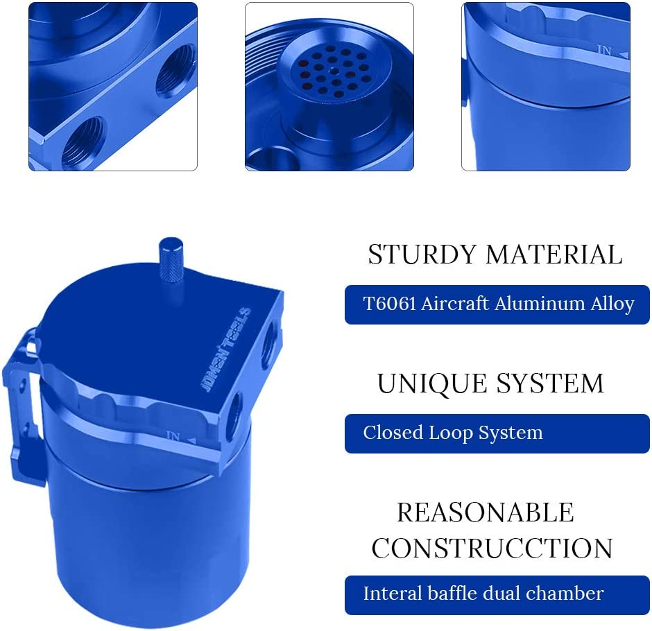Blue JDMON Universal Car Oil Catch Can Kit 300ml Aluminum Polish Baffled Engine Air Oil Separator Tank Reservoir with A Pair of Glove