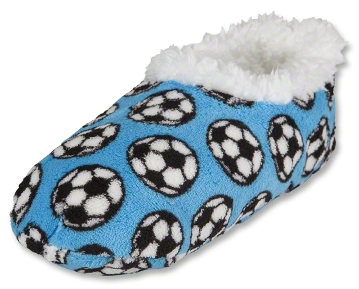 Snoozies Soccer Slippers (Aqua, Youth Med (11/12))