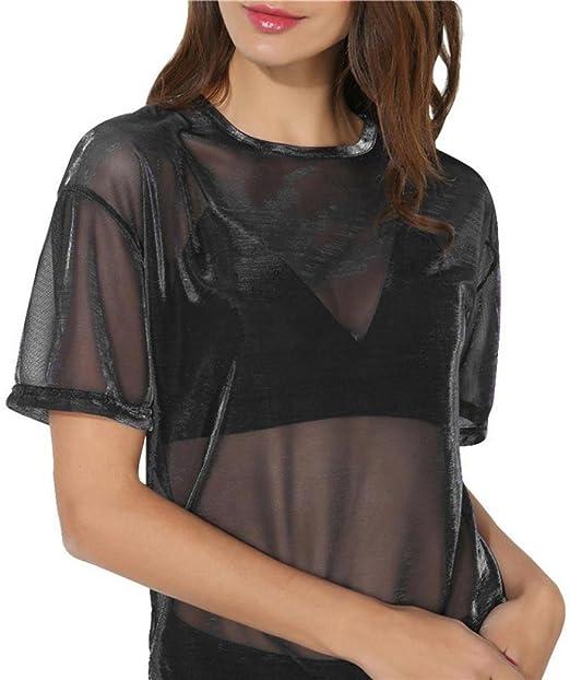 Blusas sexys de Mujer Verano Blusa Transparente Mujer Camiseta Manga Corta Cuello Redondo Camisa Hueca Hollow Tops Blusas (Negro, L): Amazon.es: Hogar