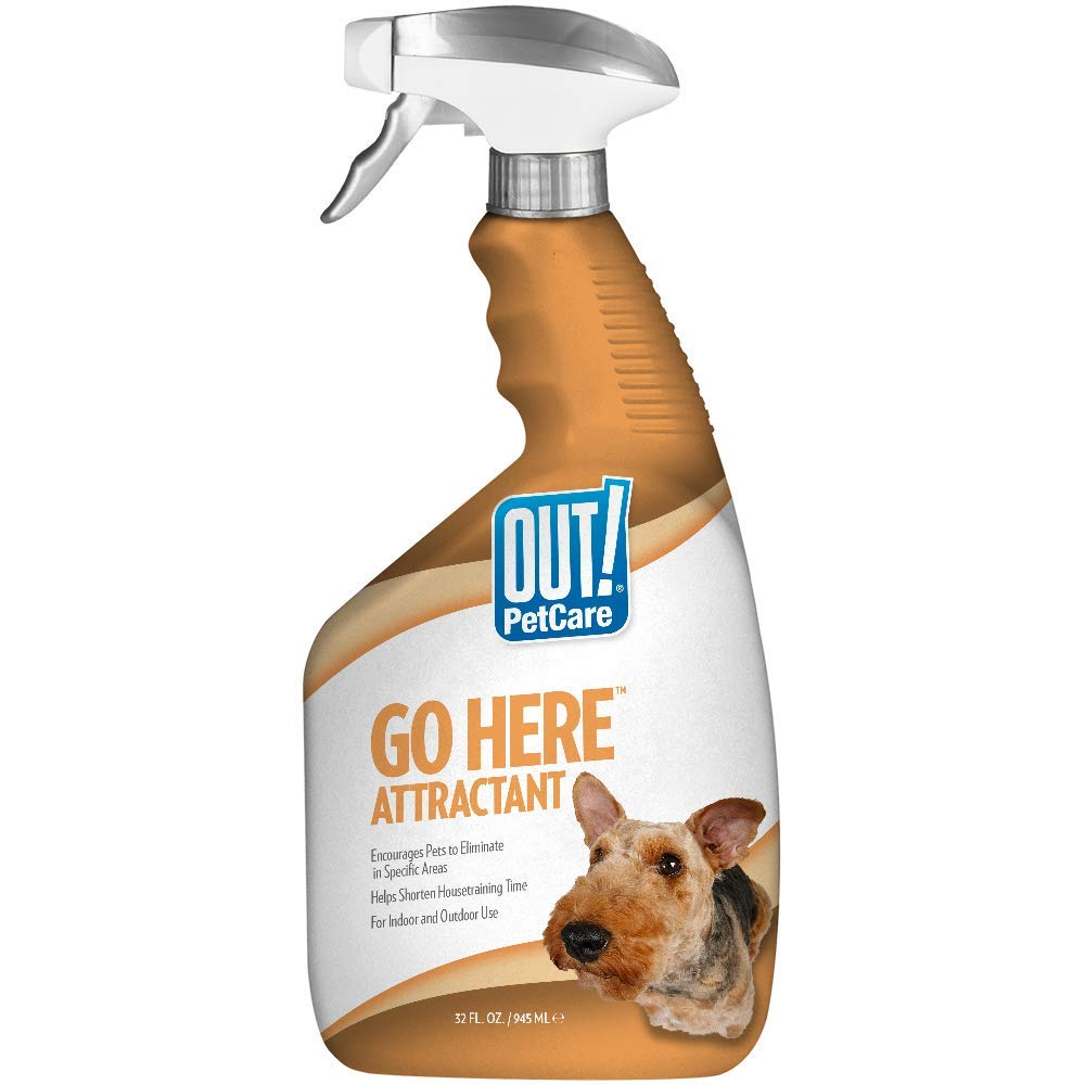 OUT! Go Here Attractant Indoor & Outdoor Dog Training Spray | Housetraining Aid for Puppies and Dogs | 32 Oz