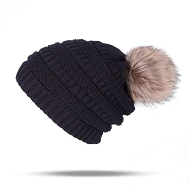 f76e2a5b2 Winter Brand Female Ball Cap Pom Poms Winter Hat for Women Girl 'S ...