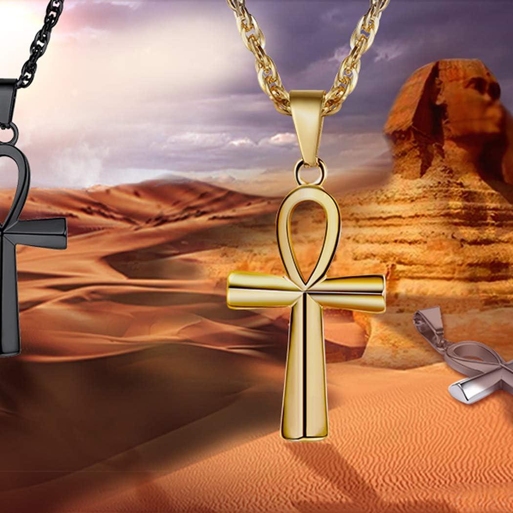 ChicSilver Collier Ankh Egyptienne en Argent 925 avec Pendentif l/œil dhorus//Cl/é De La Vie Ankh Croix,Chaine Reglable 45+5cm,Bijoux Amulette Protection pour Hommes Femmes Ados