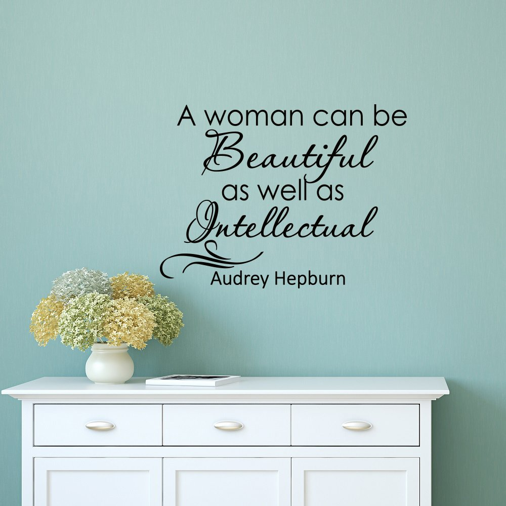 Wall Decal Quote Audrey Hepburn A Women Can Be Beautiful As Well As